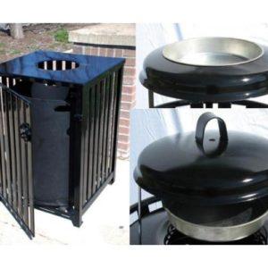 50 Gallon Square Ash and Trash Receptacle