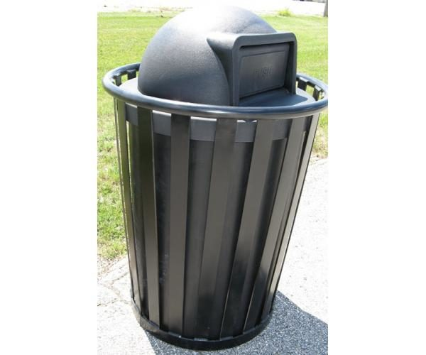 55 Gallon Continental Trash Receptacle With Plastic Lid