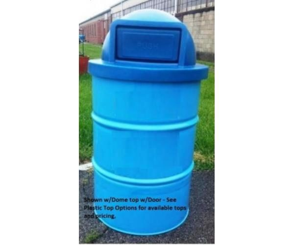 55-Gallon Drum Trash Can With Plastic Lid