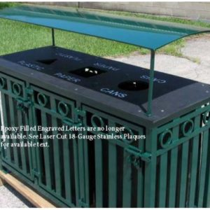 Broadway 3 bay outdoor recycle bin with Rain Guard