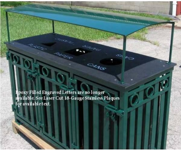 Broadway 3 bay outdoor recycle bin with Rain Guard