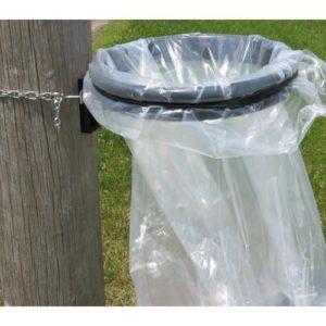 Pole mounted Open Bag Trash Receptacle