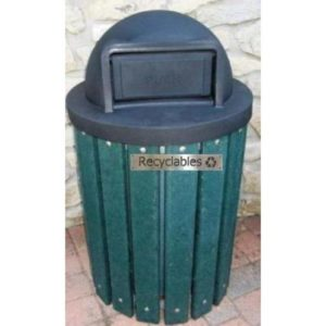 Recycled Plastic Trash Receptacle With Plastic Lid
