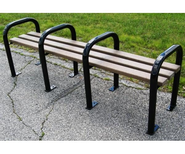 Steel and Recycled Plastic Backless Park Bench